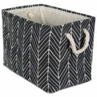 Design Imports CAMZ38623 17.5 x 12 x 15in Herringbone Rectangle Polyester Storage Bin, Black - 1