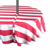 DII Coral Cabana Stripe Outdoor Tablecloth With Zipper 52 Round - 1