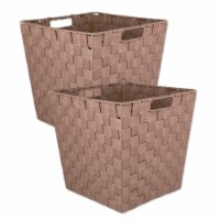 Design Imports 38896 13 x 13 x 13 in. Trapezoid Nylon Storage Bin Basketweave, Taupe-Set of 2 - 1