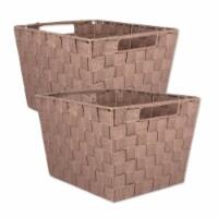 Design Imports 38904 13 x 15 x 10 in. Trapezoid Nylon Storage Bin Basketweave, Taupe-Set of 2