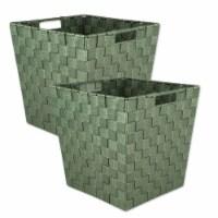 Design Imports 38909 13 x 13 x 13 in. Trapezoid Nylon Storage Bin Basketweave, Olive-Set of 2