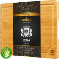 Small Bamboo Cutting Board for Kitchen with Handles & Juice Groove