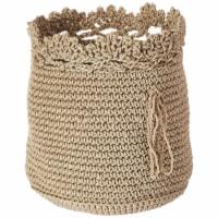 Mode Crochet Basket with Trim, Tan - Set of 3