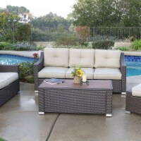 5 Piece South Beach Wicker Patio Luxury Deep Seating Group with Cushion