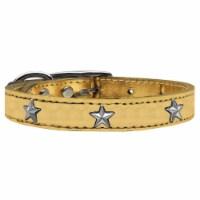 Silver Star Widget Genuine Metallic Leather Dog Collar - Gold, Size 22