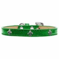 Silver Fleur De Lis Widget Dog Collar, Emerald Green Ice Cream - Size 18 - 1