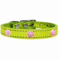 Bright Pink Rose Widget Genuine Metallic Leather Dog Collar, Lime Green - Size 14 - 1