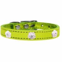 Light Pink Rose Widget Genuine Metallic Leather Dog Collar, Lime Green - Size 22 - 1