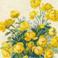 7.75 x 7.75 in. Globe Flower Counted Cross Stitch Kit - 14 Count - 14