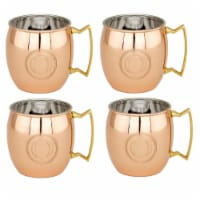 16 oz Monogrammed O Moscow Mule Mugs - Solid Copper  Set of 4 - 1