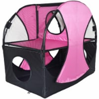 Kitty Play Pet Cat House, Pink & Black - One Size