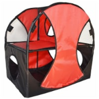 Kitty Play Pet Cat House, Red & Black - One Size