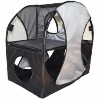 Kitty Play Pet Cat House, Grey & Black - One Size