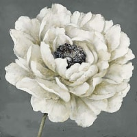 Patton Picture Wall Décor Single Flower Wall Art - White/Gray