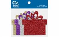 Glitter Shape 8pc Present Red,Silver,Lt Gold,Grape - 1