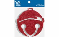 Glitter Shape 4pc Holiday Bell Silver & Red - 1