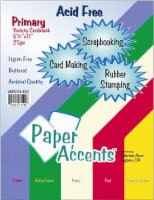 Paper Accents Card Stock Variety Pack - 25 Pack - Primary - 8.5 x 11 in