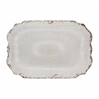 "Supreme Housewares Crackle 20"" Rectangular Tray, Cream"