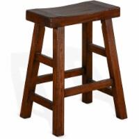 Sunny Designs 24  Saddle Seat Transitional Mahogany Wood Stool in Medium Brown - 1