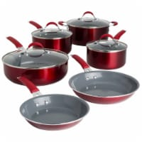 Cooking Light Allure Non-Stick Ceramic Cookware Set - Red