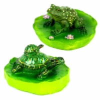 Land & Sea LS917FT1 Floating Pond Frog & Turtle, Green - 2 Piece - 1