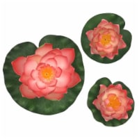 Land & Sea LS1017WLPH Decorative Floating Artificial Lotus Water Lilies, Peach - 3 Piece - 1