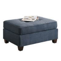 Poundex Furniture Button Tufted Dorris Fabric Cocktail Ottoman in Blue - 1