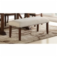 Saltoro Sherpi Rubber Wood Bench With Nail trim head design Brown and Cream - 1 unit
