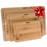 Bamboo Cutting Board Set of 3, Wood Cutting Board for Meat Cheese Vegetables - 1