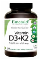 Emerald Lab Vitamin D3 + K2 5000 IU 50 mg Vegetable Capsules