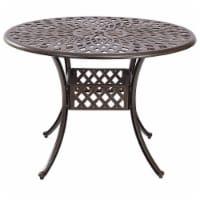Kinger Home 41  Arden Round Rustic Outdoor Aluminum Patio Dining Table, Bronze - 1 Piece
