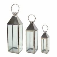 Lantern (Set of 3) 19.5 , 26 , 34 H Stainless Steel/Glass - 1