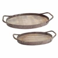 Wood Grain Metal Trays (Set of 2)  14.75 , 17 L Wood/Metal - 1