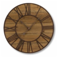 Round Roman Numeral Wall Clock 23.5 D Wood/Metal  (1 AA Batteries, Not Included) - 1