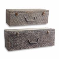 Suitcase Wall Shelf (Set of 2) 19.5 , 23.5 W Metal - 1