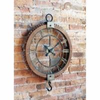 Open Wall Clock w/Hook 21.75 Lx30 H Wood/Metal - 1