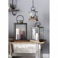Lanterns (Set of 3) 12 H, 16.5 H, 21.5 H Metal/Glass/Wood - 1