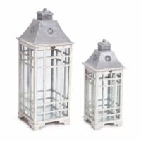 Melrose International 70482 24.5-33 in. Lantern Metal, Grey White - Set of 2