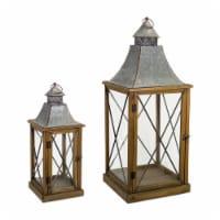 Melrose International 72153DS 22 x 33.5 in. Wood & Metal Lantern, Brown & Tin - Set of 2