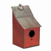Melrose International 17 x 8.5 in. Metal Birdhouse, Red & Tin - Set of 2