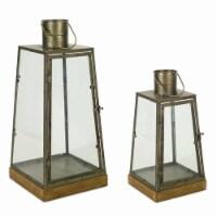 Melrose International 72508DS 16 x 21.5 in. Wood & Metal Lantern, Brown & Copper - Set of 2