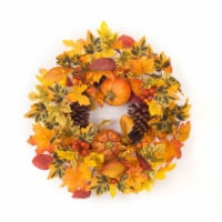 Pumpkin/Gourd/Fall Leaf Candle Ring 20.5 D Polyester (fits a 6  candle) - 1