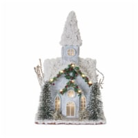 Church with Lights and Timer 14 H Wood/Plastic - 1
