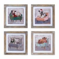 Cow and Chair Print (Set of 4) 9.5 SQ MDF/Wood - 1