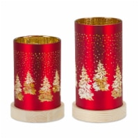 LED Luminary (Set of 2) 6.5 H, 8 H Glass 6 Hr Timer 3 AA Batteries, Not Included - 1