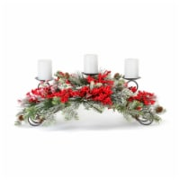 Pine and Berry Centerpiece 31 L x 12 H Plastic/Foam (Fits 3  Candles) - 1