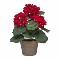 Potted Geranium (Set of 2) 14.25 H Polyester - 1