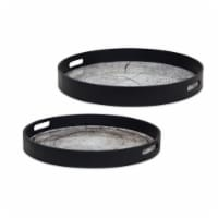 Tray (Set of 2) 18 D, 19.25 D Glass/MDF - 1