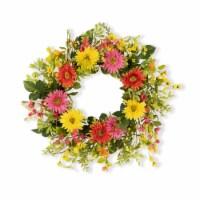 Mixed Gerbera Daisy Wreath 25 D Fabric - 1