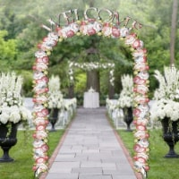 Designocracy 8911312-2A Welcome Arch Free-Standing Garden Decor, Summer Flowers - 1